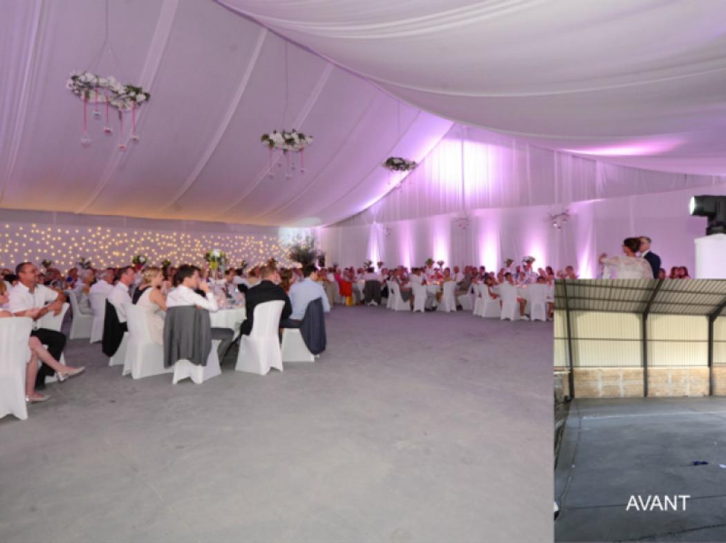 Mariage dans un hangar.